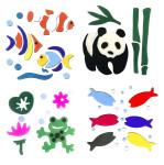 MagicGel 4er Set Fensterbilder mittel, Fische, Panda, Papageifische, Frosch