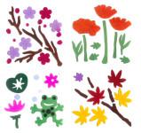MagicGel 4er Set Fensterbilder mittel, Herbstblätter, Kirschblüten, Frosch, Klatschmohn