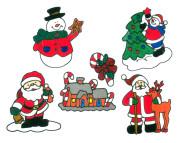 MagicGel 5er Set Fensterbilder Weihnachten mittel, Weihnachtsmann mit Rentier, Weihnachtsmann, 2 x Schneemann, Lebkuchenhaus