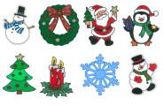 MagicGel 8er Set Fensterbilder Weihnachten klein, Schneekristall, Nikolaus, Tannenbaum, 2. Advent, 2 x Schneemann, Kranz, Pinguin