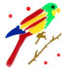 MagicGel Fensterbilder - Papagei bunt, Fensterdeko, Spiegeldeko