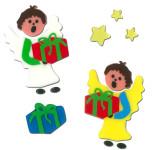 MagicGel Fensterbilder Weihnachten - Engel mit Geschenken (18 x 18 cm), Fensterdeko für das Basteln mit Kindern