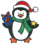 MagicGel Fensterbilder Weihnachten - Pinguin mit Geschenk (15 x 17 cm), Fensterdeko für das Basteln mit Kindern