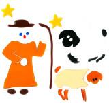 MagicGel Fensterbilder Weihnachten - Schäfer mit Schafen (25 x 24 cm), Fensterdeko für das Basteln mit Kindern