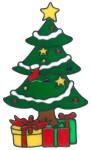MagicGel Fensterbilder Weihnachten - Weihnachtsbaum mit Geschenken (15 x 26 cm), Fensterdeko für das Basteln mit Kindern