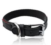 Nylon Halsband, mit Elchleder dubliert, Farbe rot/schwarz, für bis zu 40 cm Halsumfang