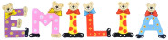 Playshoes Kinder Holz-Buchstaben Namen-Set EMILIA - sortiert