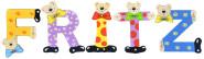 Playshoes Kinder Holz-Buchstaben Namen-Set FRITZ - sortiert