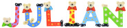 Playshoes Kinder Holz-Buchstaben Namen-Set JULIAN - sortiert