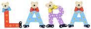 Playshoes Kinder Holz-Buchstaben Namen-Set LARA - sortiert