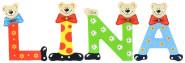 Playshoes Kinder Holz-Buchstaben Namen-Set LINA - sortiert