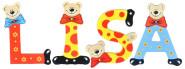 Playshoes Kinder Holz-Buchstaben Namen-Set LISA - sortiert