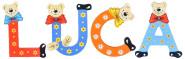Playshoes Kinder Holz-Buchstaben Namen-Set LUCA - sortiert