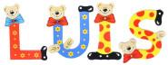 Playshoes Kinder Holz-Buchstaben Namen-Set LUIS - sortiert