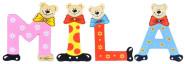 Playshoes Kinder Holz-Buchstaben Namen-Set MILA - sortiert