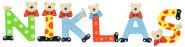 Playshoes Kinder Holz-Buchstaben Namen-Set NIKLAS - sortiert
