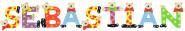 Playshoes Kinder Holz-Buchstaben Namen-Set SEBASTIAN - sortiert