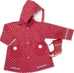 Playshoes Regen-Mantel Punkte rot, Größe: 128