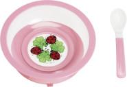 Playshoes Teller mit Gummifuß und Löffel, one size, pink