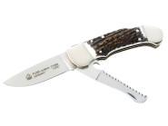 PUMA Taschenmesser CUSTOM, Stahl 1.4110, Säge, Back Lock, Neusilberbacken, Messingplatinen, Hirschhorn-Griffschalen