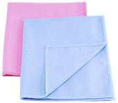 purclean 2er Set Microfaser-Poliertuch, 30 % Polyamide, extra saugstark, ca. 40 x 35 cm, in blau/pink