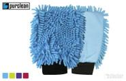 purclean Microfaser Handschuh Duo 2er Set - kombiniert Putzlappen und Staubwedel, sortiert