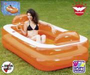 Relax und Genießer Pool m. 2 Ringen, 1 Wasserauslassventil, aufgeblasen ca 195 x 122 x 50 cm, unaufgeblasen ca 183 x 112 x 36 cm, m. 2 Getränkehalter