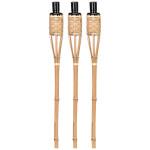 Rivanto® 3er Fackel Set Bambus, Ø 6,1 cm, Höhe 63 cm, tolle Gartendekoration aus Bambusholz, Gartenfackeln, Beleuchtung