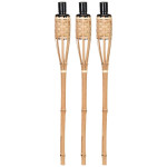 Rivanto® 3er Set Fackel Bambus, Ø 6,1 x H62,6 cm, tolle Gartendekoration aus Bambusholz, Gartenfackeln, Beleuchtung