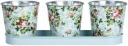 Rivanto® 3er Topfset auf Tray mit Rosendruck, Tray ca. 32 cm Breite, Töpfe Ø 10,6 x 10,9 cm, verzinkter Stahl, innen hochglänzend