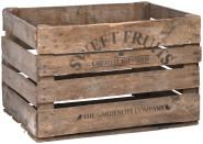 Rivanto® Apfelkiste Holz, 51,1 x 42,3 x 30,1 cm, Aufbewahrungskiste mit 'SWEET FRUITS' Aufdruck, Transportkiste aus echtem Holz