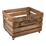 """Rivanto® Apfelkiste mit Rollen aus Holz, 49,5 x 40 x 35,2 cm, Schriftzug """"SWEET FRUITS"""", Aufbewahrungsbox, Obstkiste für Küche"""