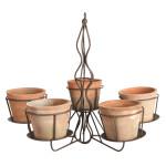 Rivanto® AT Hängenden Pflanzen Kronleuchter mit 5 Töpfen, Terracotta, Eisengestell mit Topf-Halterung, für 5 Töpfe, Hängende Blumentöpfe