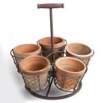 Rivanto® AT Stehender Topfhalter inkl. 5 Töpfen, mit Griff, robustes Eisengestell mit Topfhalterungen, Blumentopf, Blumenschalen, Gartendeko