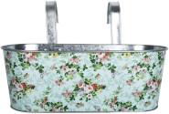 2 Stück Rivanto® Balkonkasten mit Rosendruck, mit 2 Haken 39,3 x 28,9 x 26,2 cm, ca. 10 cm lang, verzinkter Stahl, innen hochglänzend