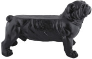 Rivanto® Bank Bulldogge für 1 Person, attraktive Gartenbank, Hundedesign, 76,3 x 35,3 x 48,5 cm, schwarz