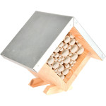 Rivanto® Bienenhaus quadratisch aus Kiefernholz, 19,8 x 14,5 x 18,1 cm, Waben Kasten, Waben aus Papierrollen, Zinkdach, witterungsbeständig