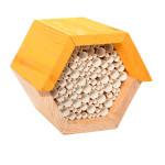 Rivanto® Bienenhaus sechseckig aus Kiefernholz, 14,8 x 14,6 x 12,8 cm, Waben Kasten, Waben aus Papierrollen, Zinkdach, witterungsbeständig