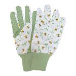 Rivanto® Bienenmuster Gartenhandschuhe mit Bund, Universalgröße, Baumwolle, Handfläche mit Noppen