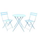 Rivanto® Blautöne Bistroset mit Stahlgestell, 1 Rundtisch Ø60 cm, 2 Klappstühle, platzsparend verstaubar, Gartenmöbel Set, Gartentisch & Gartenstuhl