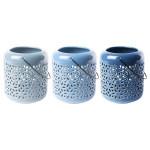 Rivanto® Blautöne Keramik Windlicht Größe L mit Griffbügel, farbig sortiert, glänzende Optik, Tee Licht, Gartendekoration, Beleuchtung