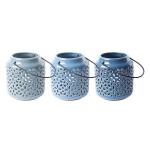 Rivanto® Blautöne Keramik Windlicht Größe S mit Griffbügel, farbig sortiert, glänzende Optik, Tee Licht, Gartendekoration, Beleuchtung