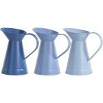 Rivanto® Blautöne Wasser Kanne mit Griff, Höhe 20 cm, Karaffe aus Zink, konisch mit großem Ausguss, farbig sortiert