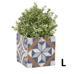 Rivanto® Blumentopf' Portugiesische Kacheln' aus Beton, Größe L, 13,4 x 13,4 x 12,9 cm, quadratischer Blumentopf, Pflanztopf