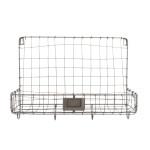 Rivanto® Drahtkorb Wandhalterung mit 1 Fach und 4 Aufhänge-Haken, 39 x 14 x 28,7 cm, aus Eisen, Montage-Lochung, Gartengeräte Aufbewahrung