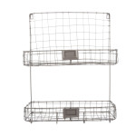 Rivanto® Drahtkorb Wandhalterung mit 2 Fächer und 4 Aufhänge-Haken, 39,5 x 14 x 52 cm, aus Eisen, Montage-Lochung, Gartengeräte Aufbewahrung