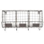 Rivanto® Drahtkorb Wandhalterung mit 3 Fächer und 4 Aufhänge-Haken, 40 x 14 x 21,7 cm, aus Eisen, Montage-Lochung, Gartengeräte Aufbewahrung