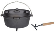 Rivanto® Dutch Oven Gusseisen Outdoor Kochtopf für Feuerstelle, Grill & Lagerfeuer, 6500 ml