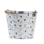 Rivanto® Eimer Bienenmuster mit Holzhenkel, 5000 ml,  Ø 26 x H 19,5, Wassereimer, Garteneimer, Kompost Eimer