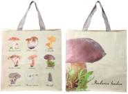Rivanto® Einkaufstasche in Pilzsammlung Optik, 39,5 x 14,5 x 40 cm, aus Kunststoff, mit 2 robusten Griffen, in beige, mit 9 Pilzarten abgebildet